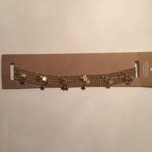 American Eagle faux gold choker w/ chains & stars